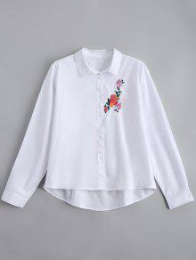 Botón De Encaje Floral Camisa Bordada - Blanco L