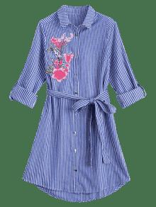 Floral Bordado Camisa S Stripes Vestido Belted Raya 74x7wrR
