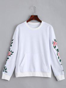 Camiseta De Bolsillo Delantero Remendada Floral - Blanco Xl