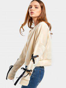 Short Drop Shoulder Lace Up Sweatshirt