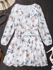 Floral Drop Waist Vestido De Manga Larga Surplice - Blanco S