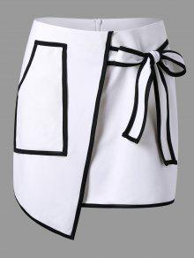 Falda Asimétrica De La Sobrecubierta Del Bolsillo Del Remiendo - Blanco Xl