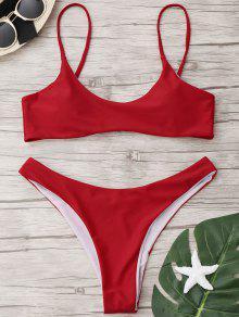 Juego De Bikini De Tanga De Corte Alto - Rojo S