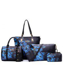6 قطع الزهور طباعة حقيبة الكتف مجموعة - أسود