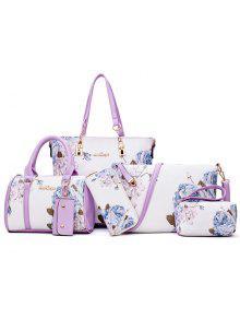 6 قطع الزهور طباعة حقيبة الكتف مجموعة - أرجواني