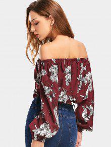 3fff60728c8d6 30% OFF  2019 Cropped Floral Off Shoulder Blouse In WINE RED