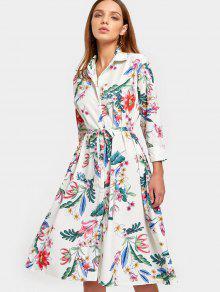 Vestido De Camisa Con Cinturón Floral De Manga Larga - Floral M