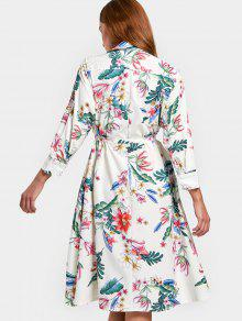 b931c51dfeb2 28% OFF] 2019 Long Sleeve Floral Belted Shirt Dress In FLORAL   ZAFUL