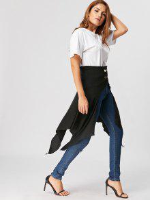 0a3eed9e2e 31% OFF] 2019 High Waist Front Slit Asymmetrical Skirt In BLACK | ZAFUL