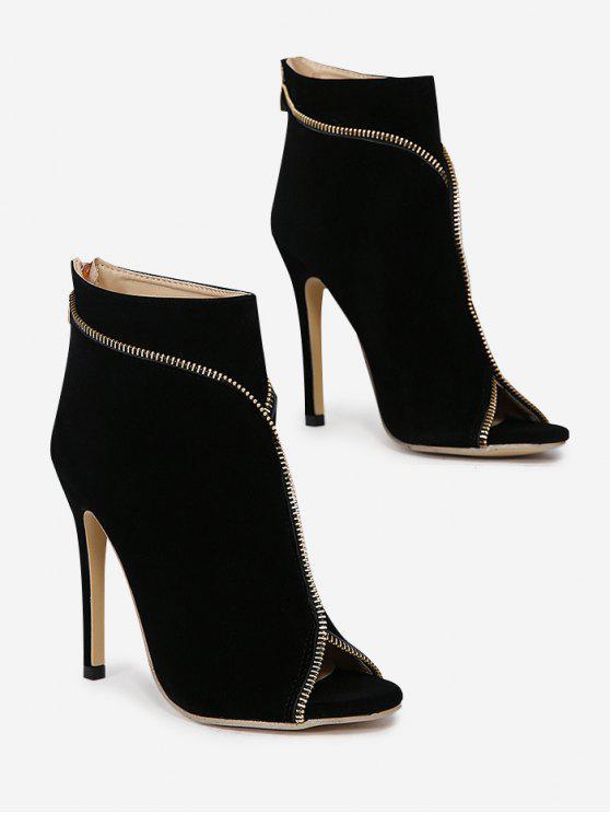 Reißverschluss verschönert Stiletto Ferse Stiefel mit öffnen Zehe - Schwarz 38