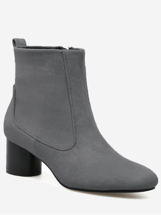 Zipper Pointed Toe Chunky Heel Boots - Gris 37