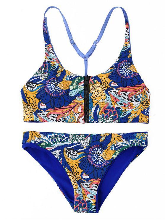 Front Zipper Retro Print Y Back Conjunto de biquíni - Azul L