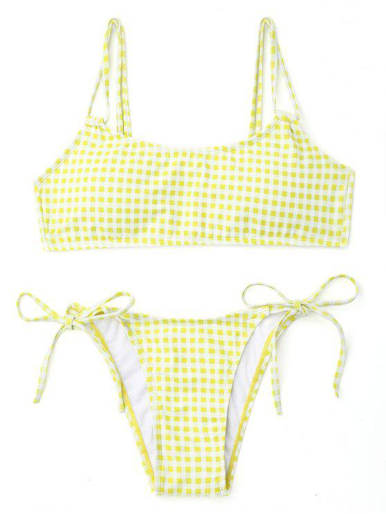 Plaid doble correas bikini de cuerda - Blanco+Amarillo L