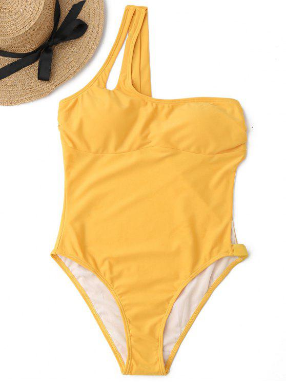 High Leg One Shoulder Cut Out Swimwear - Amarelo Gengibre M