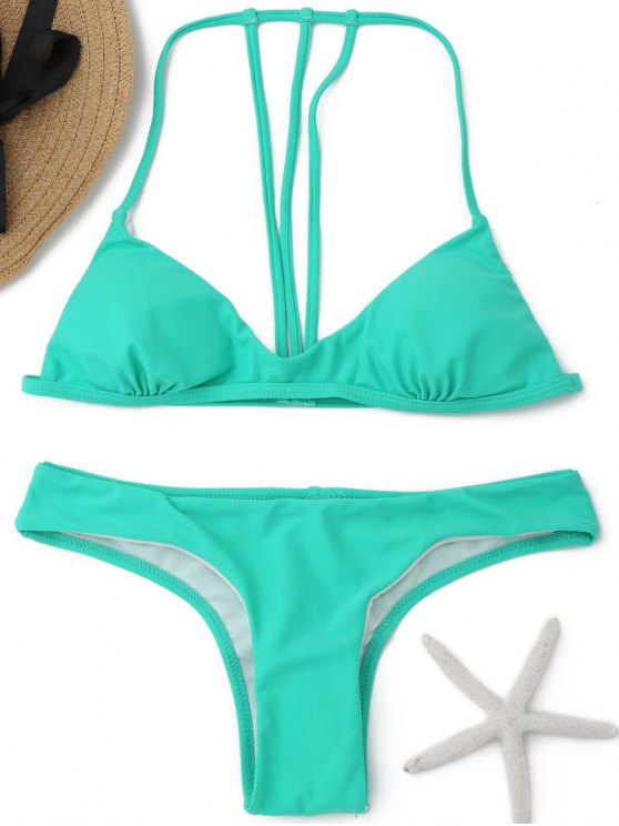 hot Padded Back Strappy Bikini - GREEN M