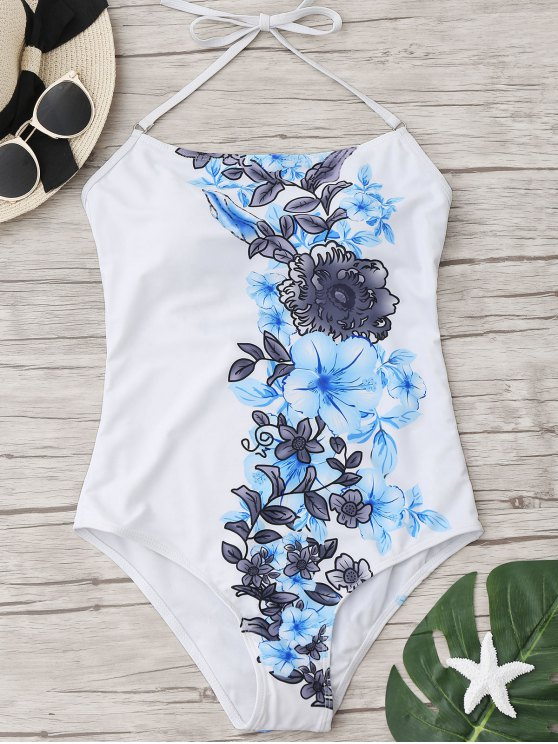 affordable Halter Floral One Piece Swimwear - WHITE M