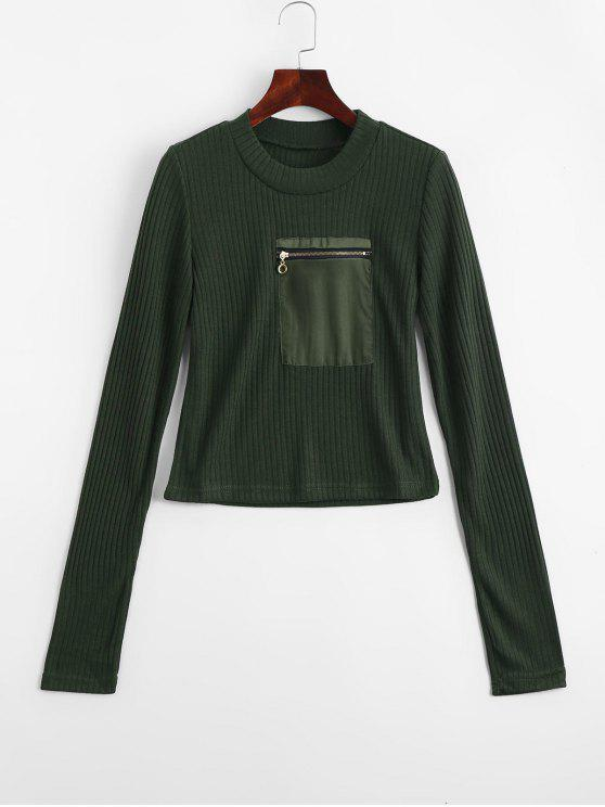new Fitting Zippered Pockets Knitwear - ARMY GREEN L