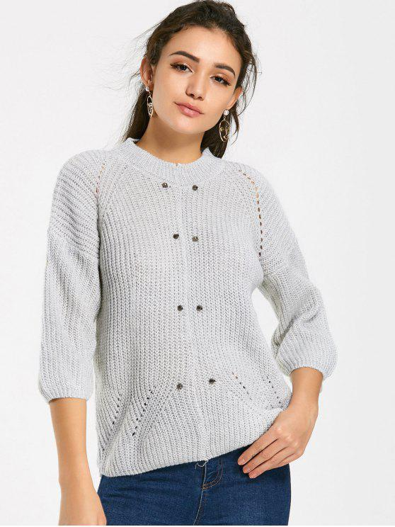 fancy Raglan Sleeve Rivet Chunky Sweater - LIGHT GRAY ONE SIZE