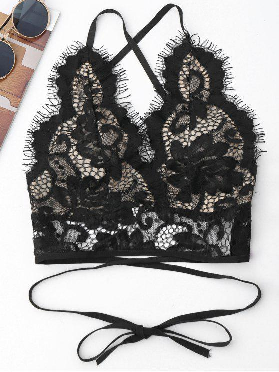 best Crisscross Scalloped Lace Bralette - BLACK S