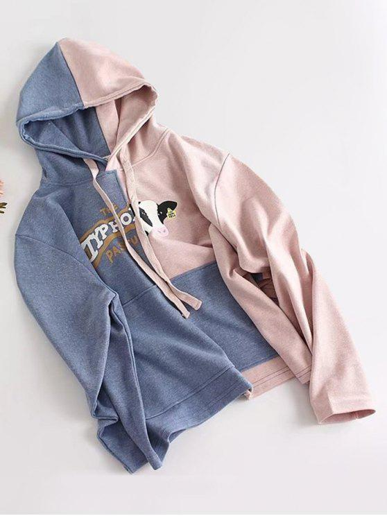 fancy Letter Pocket Two Tone Hoodie - BLUE ONE SIZE