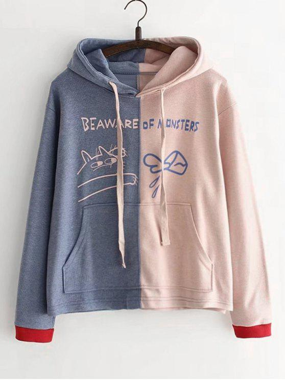 unique Letter Pocket Two Tone Hoodie - PINK ONE SIZE