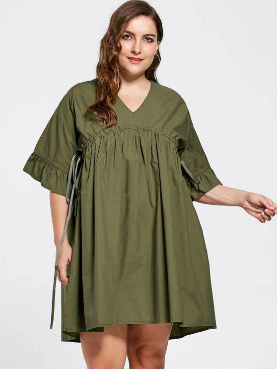 Vestido de Babydoll de manga larga - Verde del ejército XL