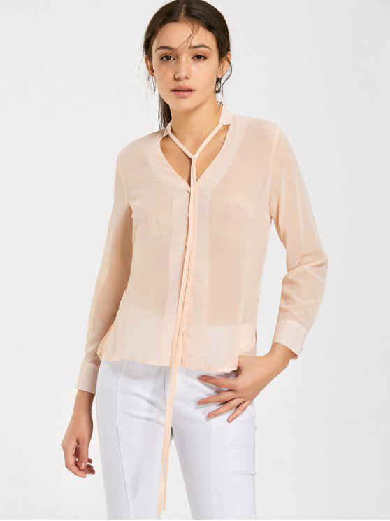 outfit Bow Tied See Thru Chiffon Blouse - PINKBEIGE 2XL