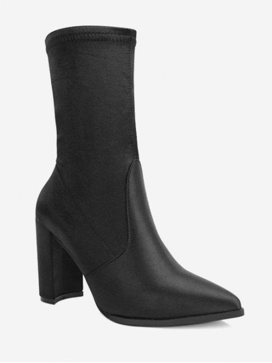 womens Pointed Toe Satin Chunky Heel Boots - BLACK 37