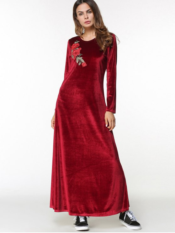 fashion Long Sleeve Velvet Maxi Dress with Applique - WINE RED XL