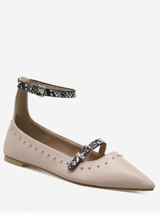 Cinta de fivela Stud Ankle Strap Flats - Mamão 39