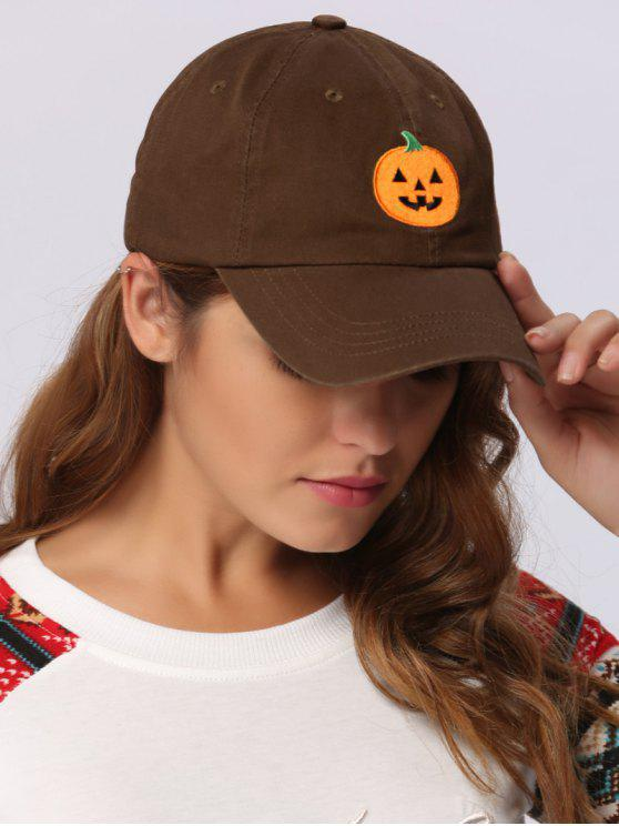 womens Halloween Pumpkin Embroidery Baseball Hat - CHOCOLATE