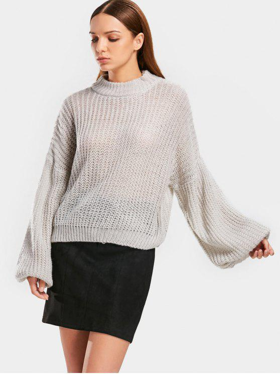 women Lantern Sleeve Mock Neck Chunky Sweater - GRAY ONE SIZE