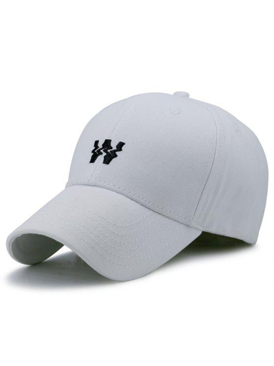 lady Distorted W Embroidery Baseball Hat - WHITE