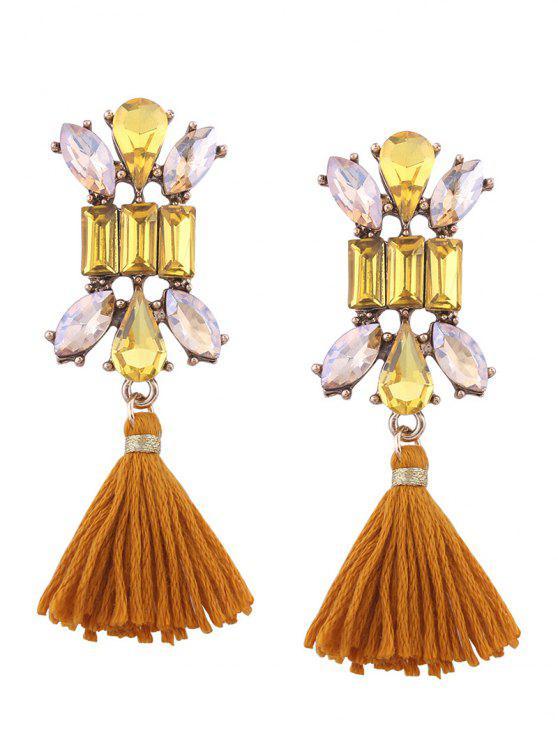 Artificial Crystal Teardrop Tassel Vintage Pendientes - Amarillo