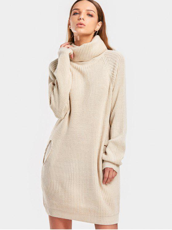 womens Long Turtleneck Raglan Sleeve Sweater - BEIGE ONE SIZE