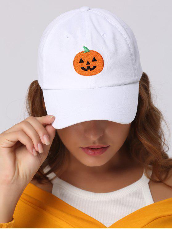 Sombrero de béisbol del bordado de la calabaza de Halloween - Blanco
