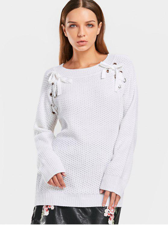 ladies Raglan Sleeve Loose Lace Up Sweater - WHITE ONE SIZE