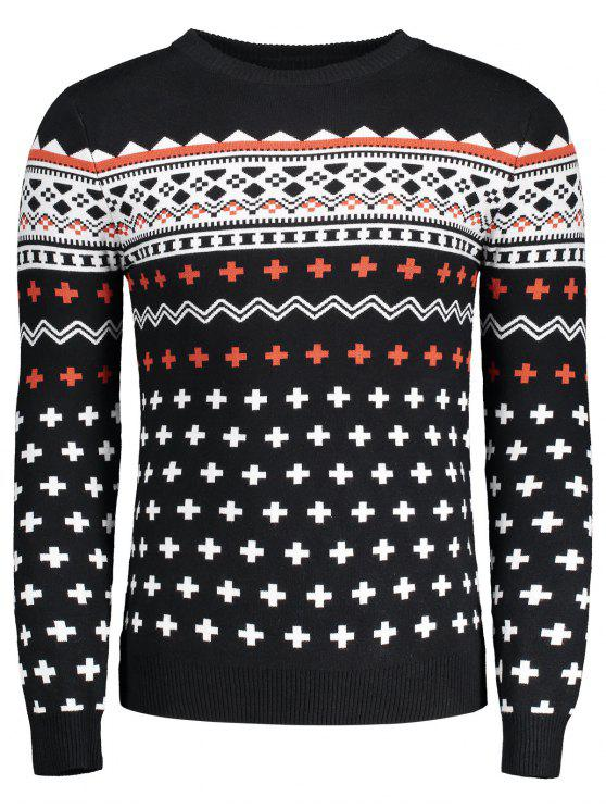 shop Crew Neck Mens Jacquard Sweater - BLACK L
