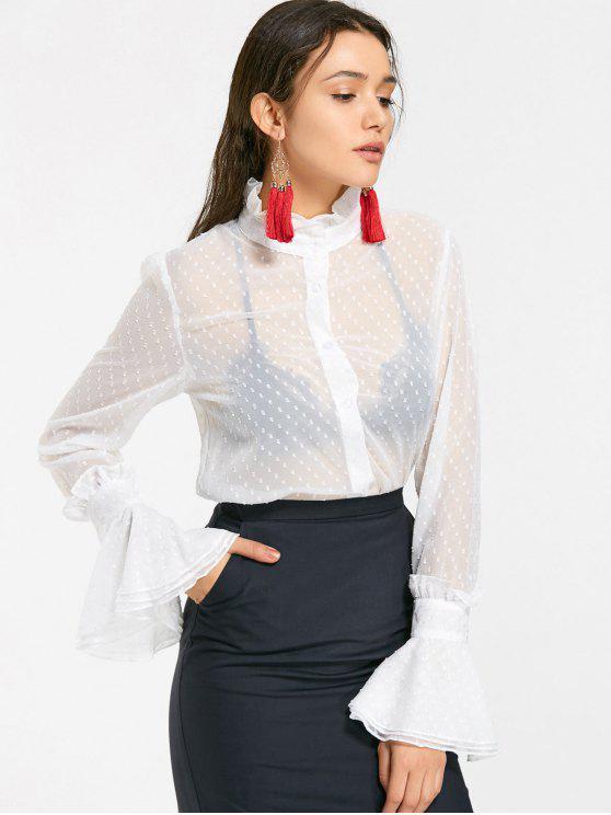 8fe2de95feb90a 23% OFF] 2019 Ruffled Applique See Thru Chiffon Shirt In WHITE | ZAFUL