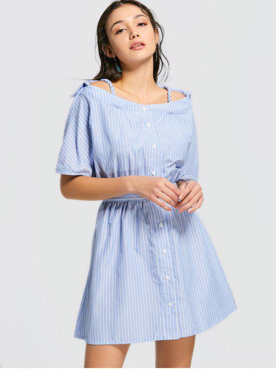 فستان مصغر باردة الكتف مخطط زر - شريط M