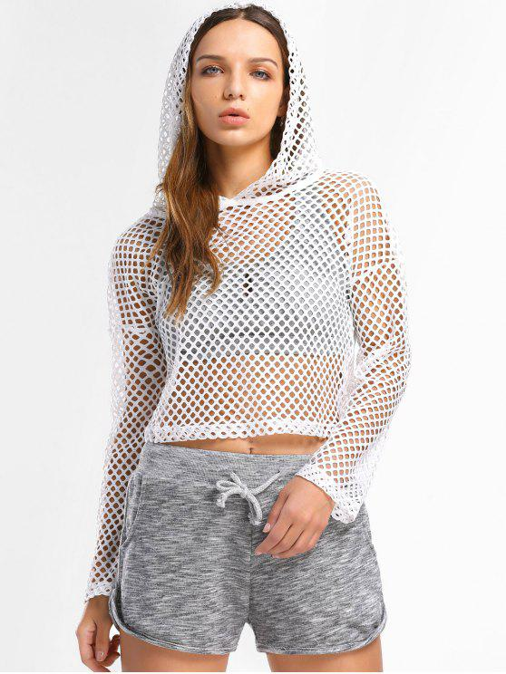 See Through Fishnet Hooded Top - Blanc S