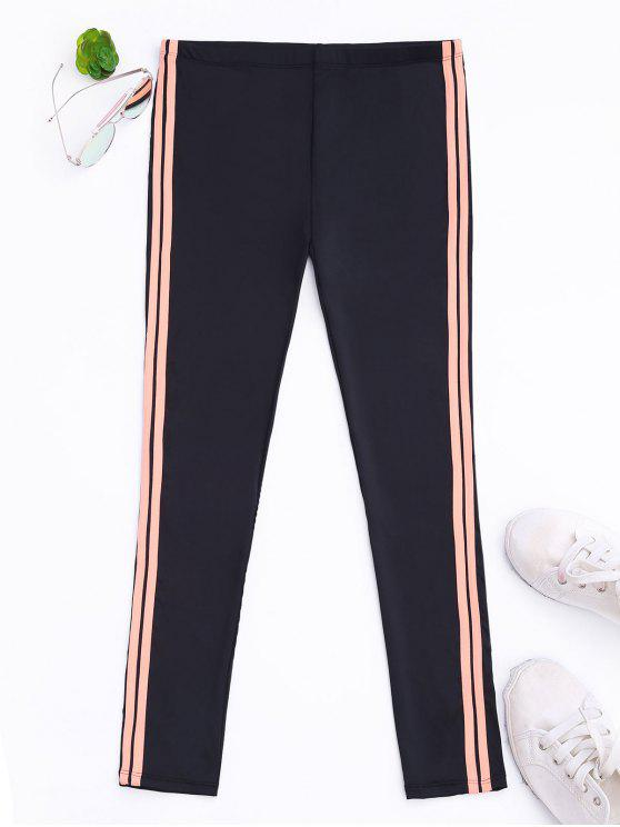 fashion Side Stripe Yoga Leggings - BLACK M
