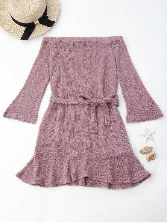 unique Knitted Off The Shoulder Cover-up Dress - RADIANT L