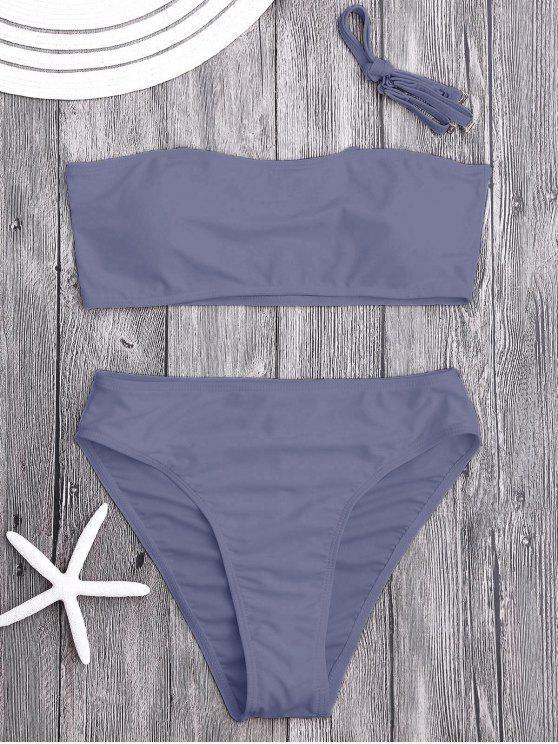 Conjunto de bikini de bikini de corte alto acolchado - Gris Púrpura S