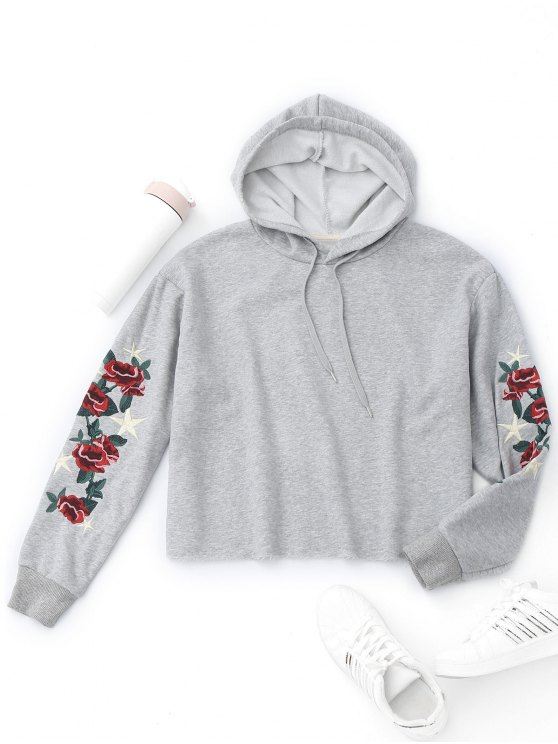 Pullover flower embroidered hoodie gray hoodies jackets