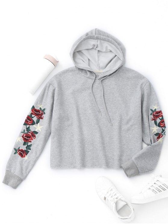 Sudadera con capucha de la flor del suéter - Gris S