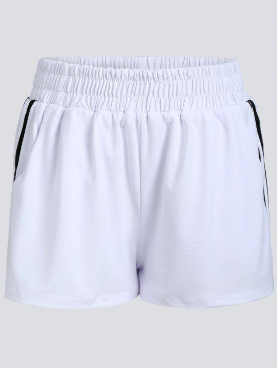 trendy Striped Double Layered Sports Shorts - WHITE M