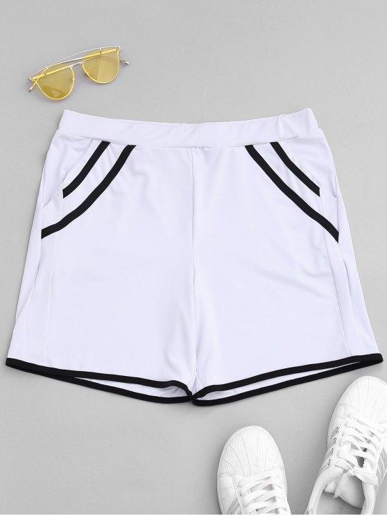 womens Stripe Workout Shorts - WHITE S
