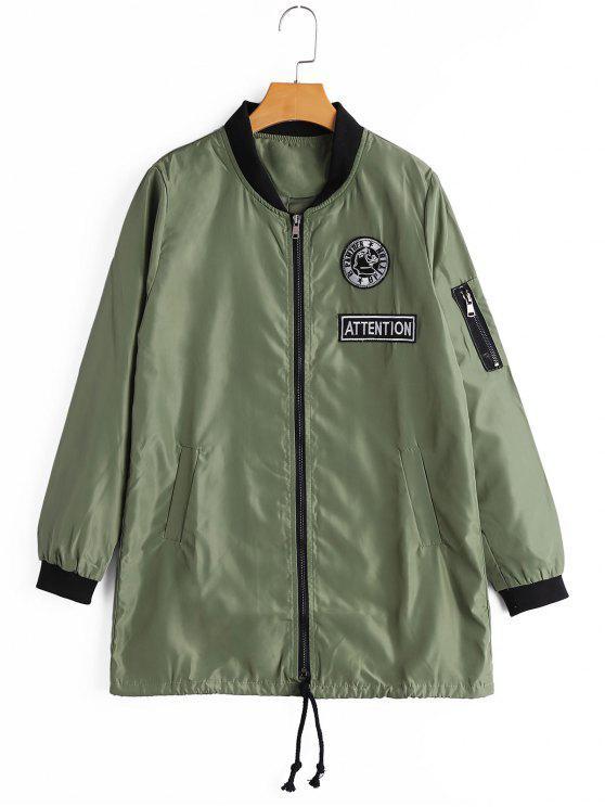 Manteau à Badge Patché Zippé avec Poches - Vert Armée S