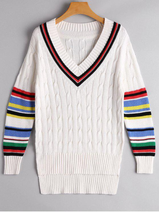 outfits Colorful Stripe Cable Knit Sweater - WHITE L